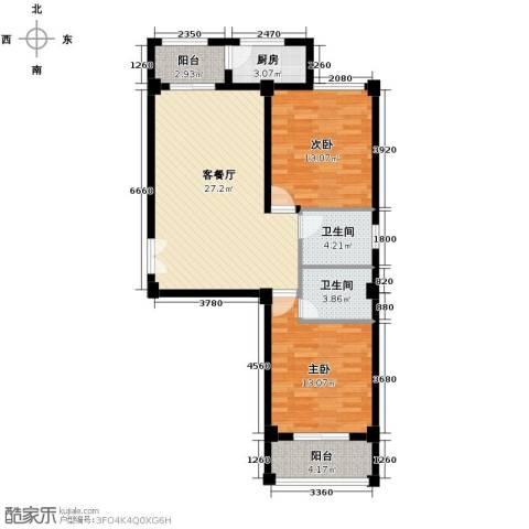 国芳世贸花园2室1厅2卫1厨95.00㎡户型图