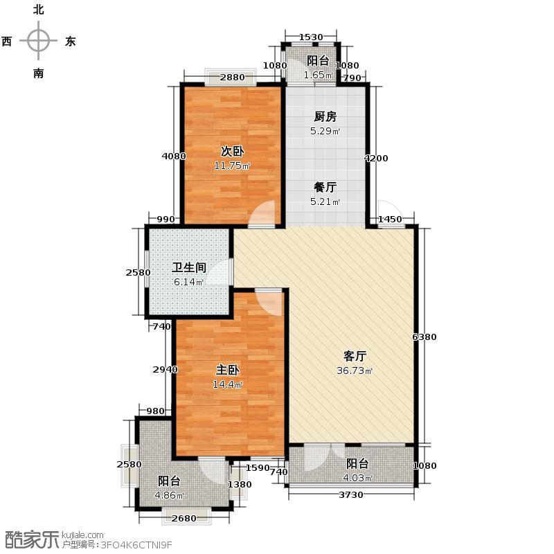 香树湾64.49㎡B1四层户型2室1厅1卫