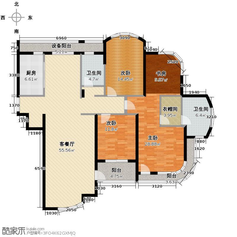 玉兰公寓178.00㎡户型3室1厅2卫1厨