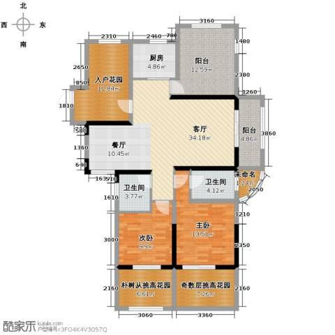 保利东湾2室1厅2卫1厨114.75㎡户型图