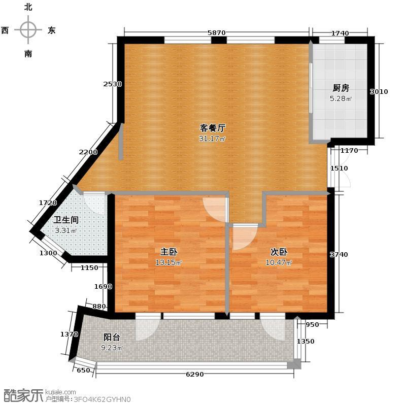 玉兰公寓90.00㎡户型2室1厅1卫1厨