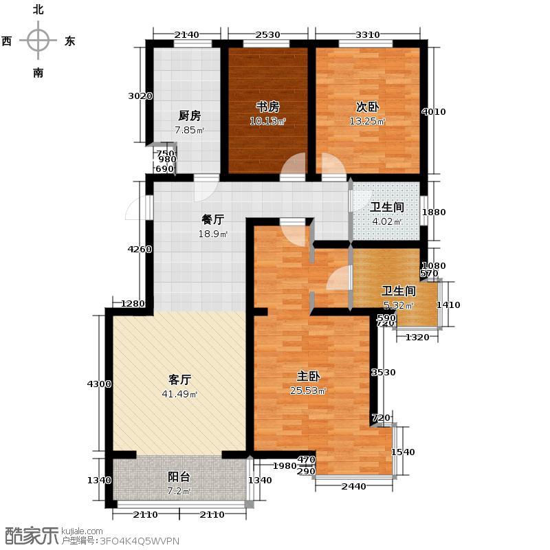 中和山水兴城142.00㎡D1户型3室1厅2卫1厨