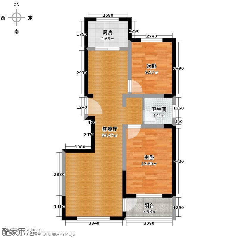 世纪城98.50㎡A户型2室1厅1卫1厨