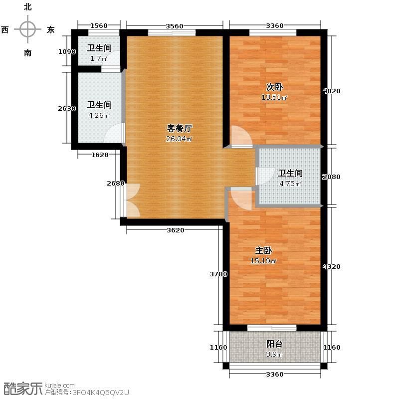 飞天世纪新城112.79㎡C1户型2室1厅3卫