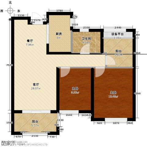 保利拉菲公馆2室2厅1卫0厨83.45㎡户型图
