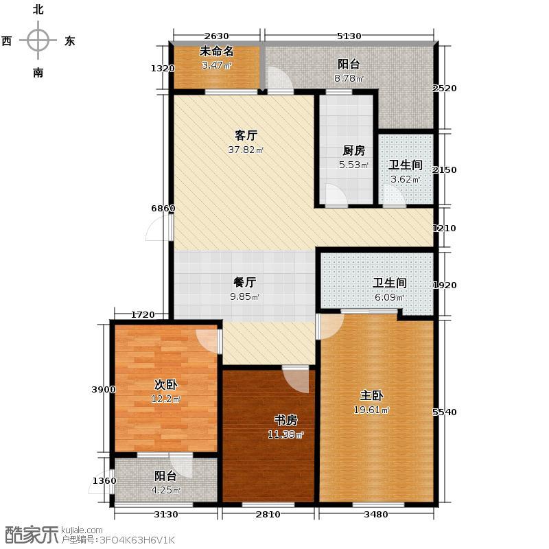 朗诗国际街区138.00㎡户型3室1厅2卫1厨