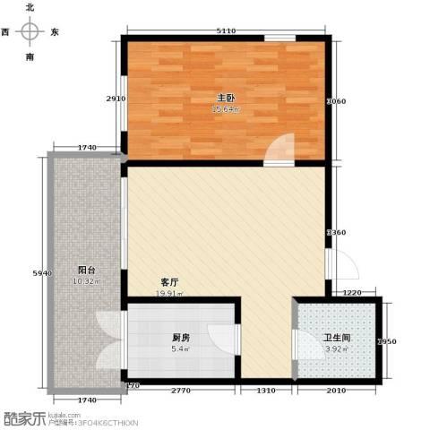 华远水木清华1室1厅1卫0厨76.00㎡户型图