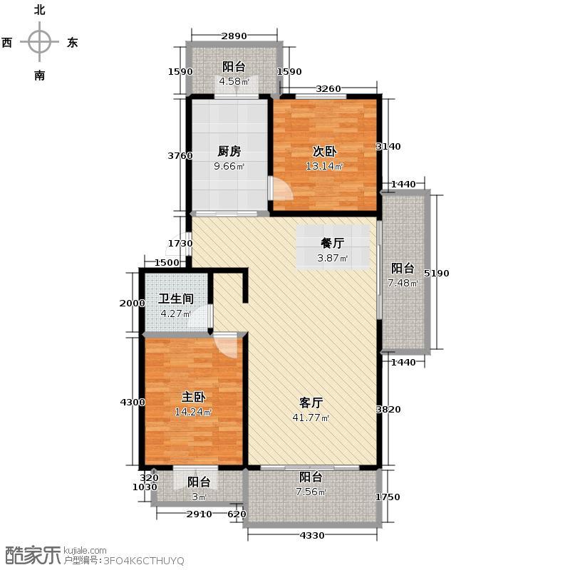 华远水木清华117.38㎡户型2室2厅1卫