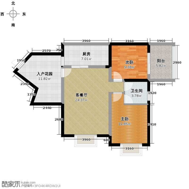 龙博御景84.61㎡S5型户型2室1厅1卫1厨