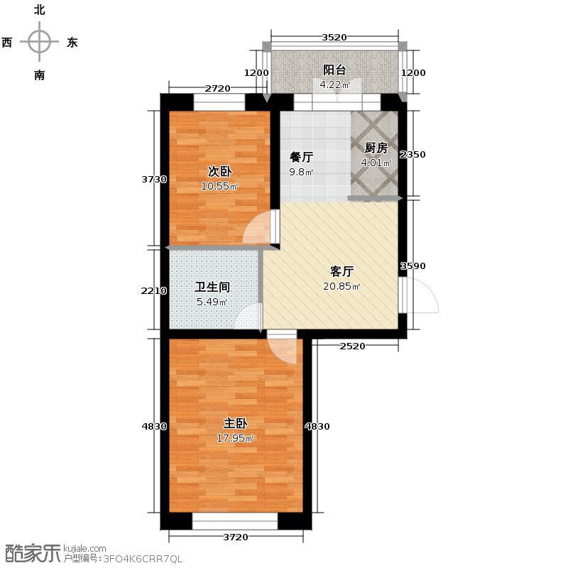 新龙城79.24㎡C2区多层C6#户型2室2厅1卫