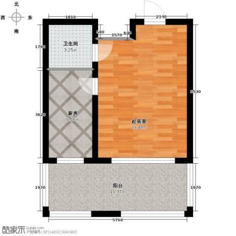 新龙城1室1厅1卫0厨56.00㎡户型图