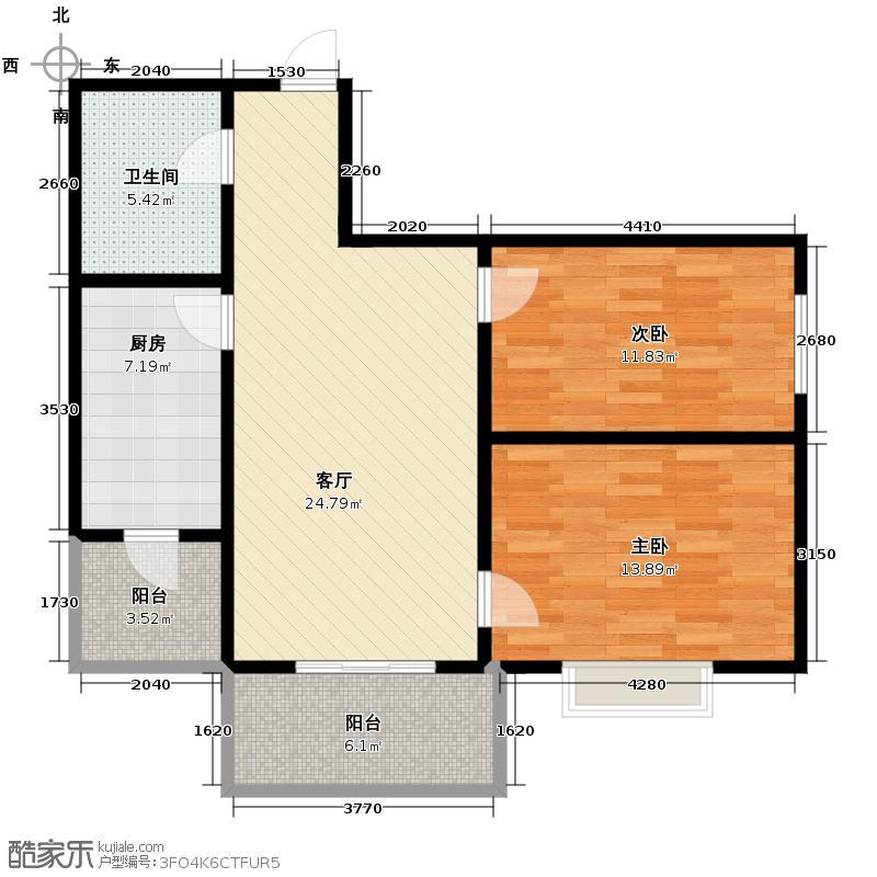 华远水木清华81.23㎡户型2室1厅1卫