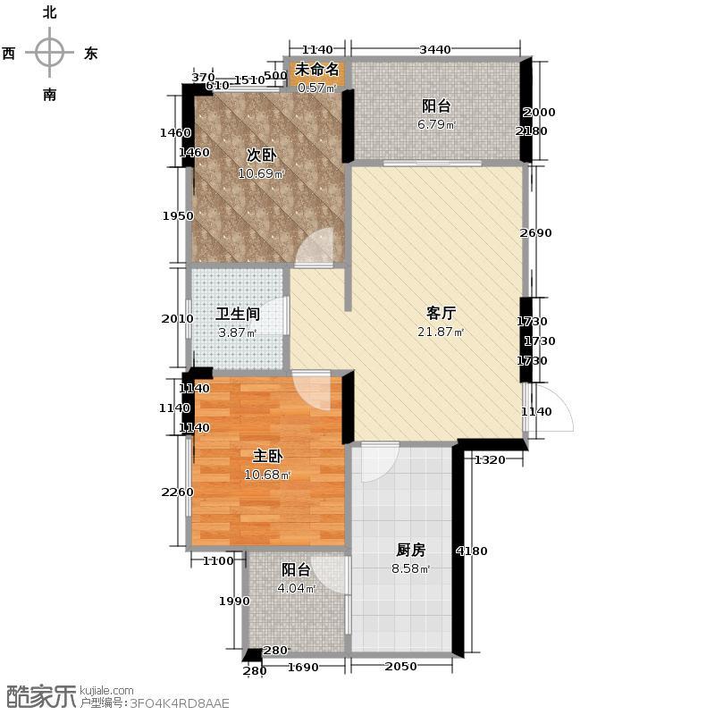 万鸿城市花园83.00㎡D2型户型2室1厅1卫1厨