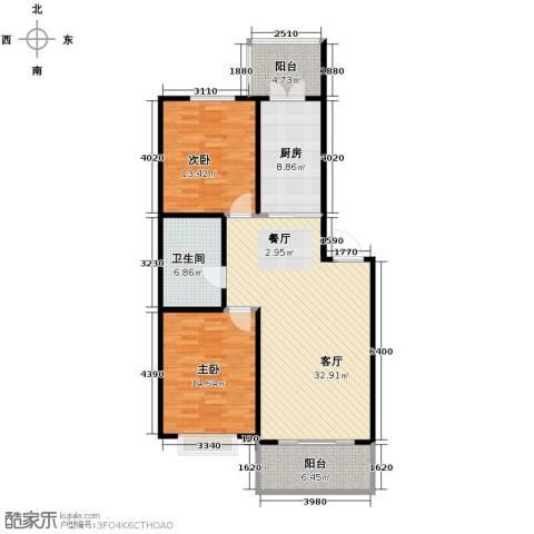 华远水木清华2室2厅1卫0厨121.00㎡户型图