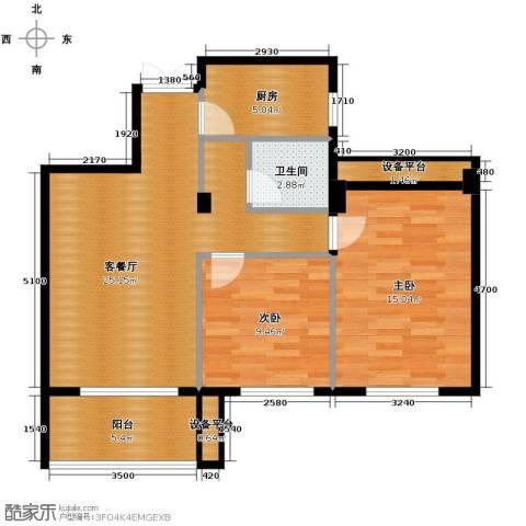 金溪园2室1厅1卫1厨88.00㎡户型图