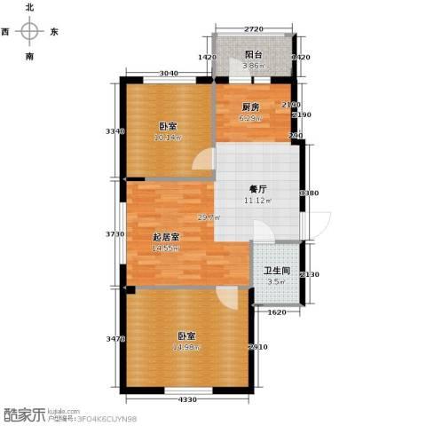 远创樾府2室1厅1卫0厨86.00㎡户型图