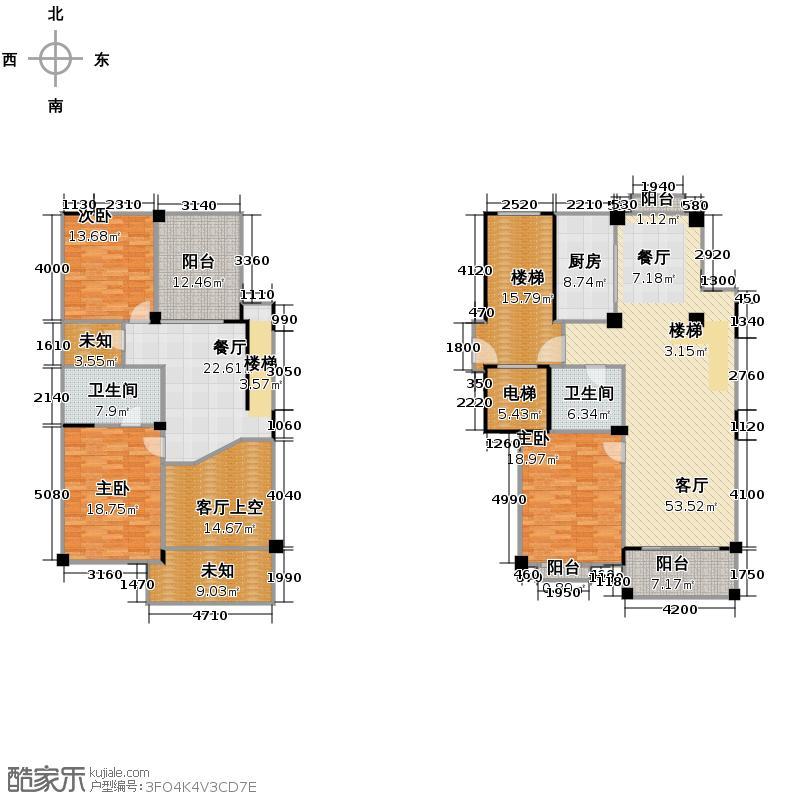 绿野春天翠谷幽兰237.71㎡D2中间套跃层户型3室2厅2卫1厨