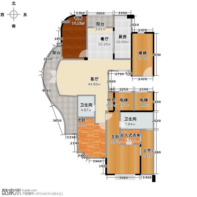 绿城风华苑168.00㎡H户型3室1厅2卫1厨