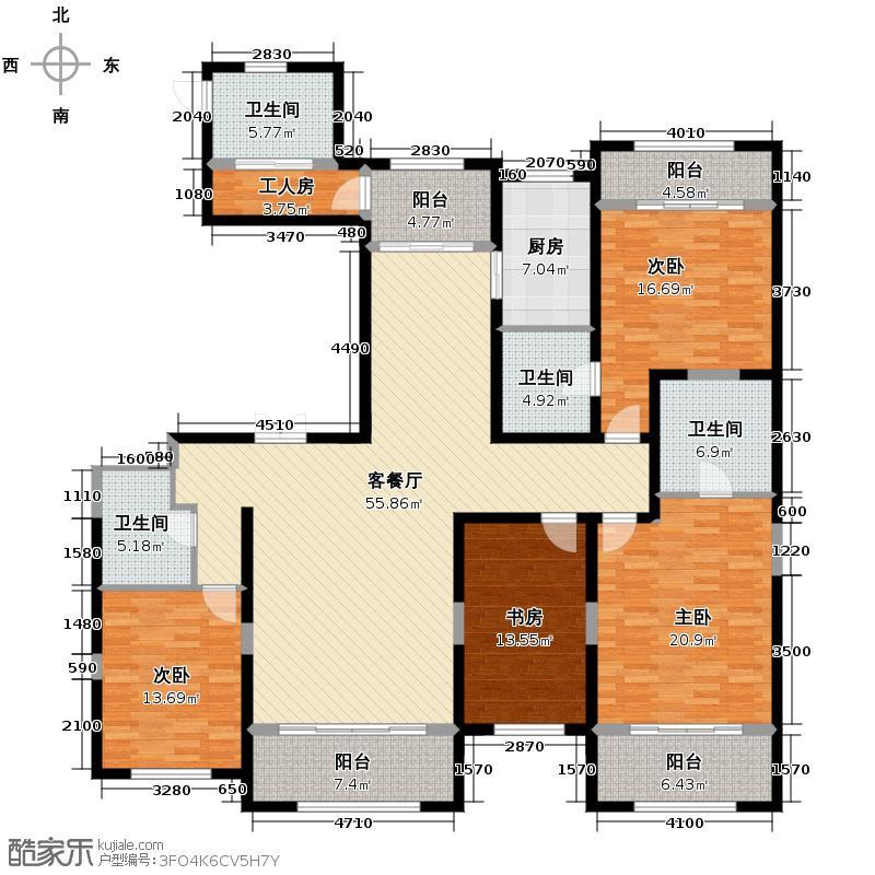 四季上东138.00㎡二期15号楼A-b户型4室2厅3卫
