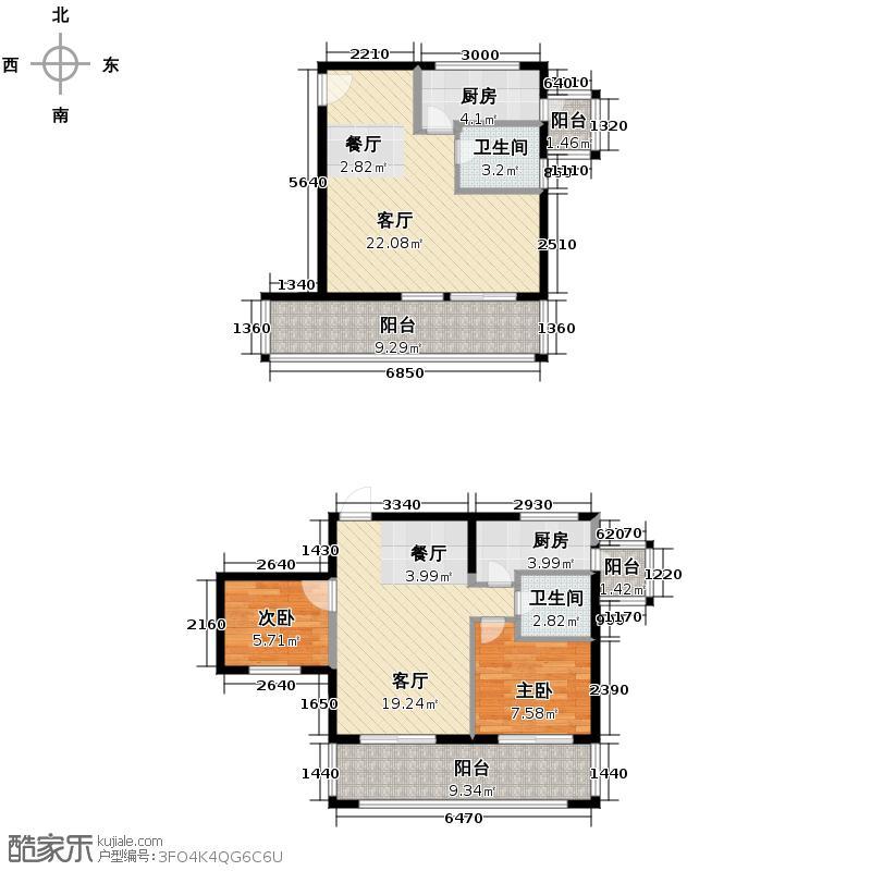 富豪新岸59.39㎡1-12层P6户型2室2厅2卫2厨