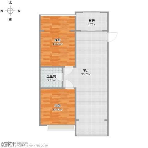 人杰水岸2室1厅1卫1厨88.00㎡户型图