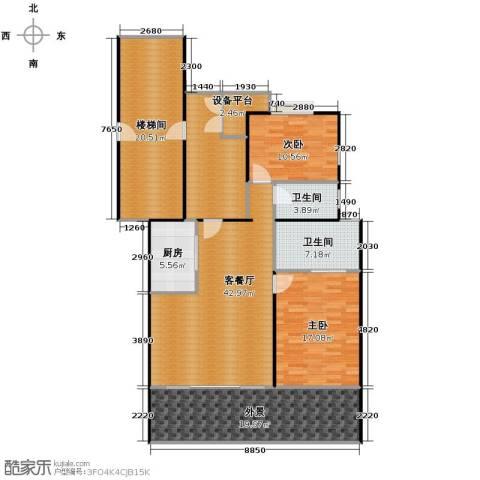 华门清水湾2室1厅2卫1厨174.00㎡户型图