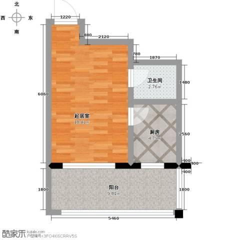 新龙城1室1厅1卫0厨50.00㎡户型图