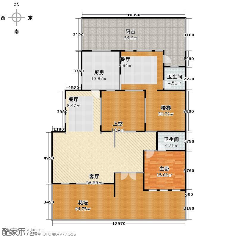 华元和庄233.44㎡b4一层户型1室1厅2卫1厨