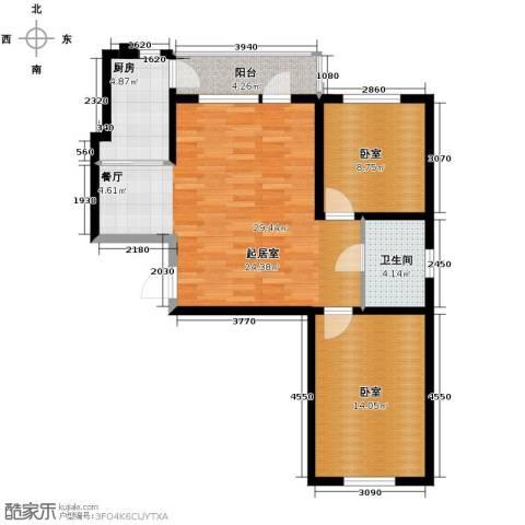 远创樾府2室1厅1卫0厨93.00㎡户型图