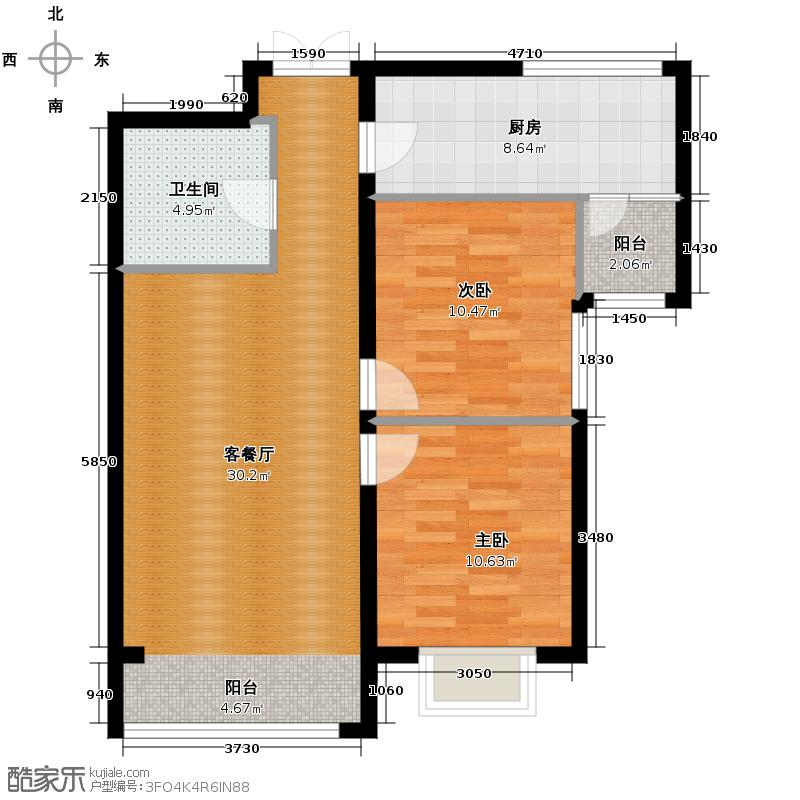 盛业·阳光雅筑99.49㎡1#C户型2室1厅1卫1厨