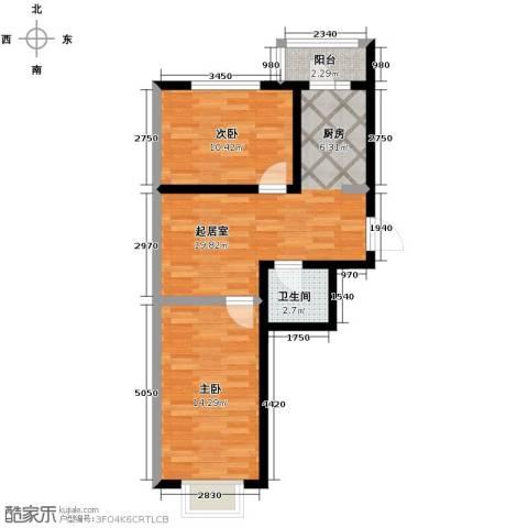 新龙城2室1厅1卫0厨75.00㎡户型图