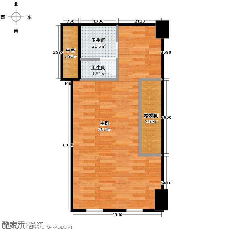 Yhome公寓50.00㎡简欧复式二层户型1室2卫