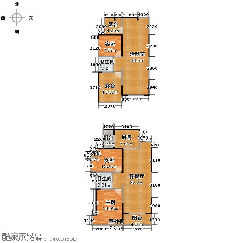 华地学府名都145.45㎡学府名都19栋06-07单元复式户型3室1厅2卫1厨