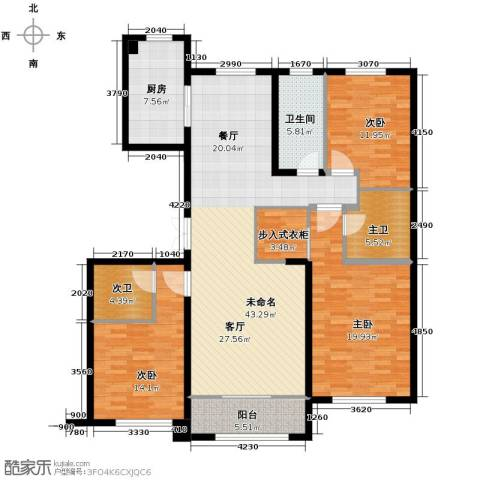 中海�庭3室2厅3卫0厨137.28㎡户型图