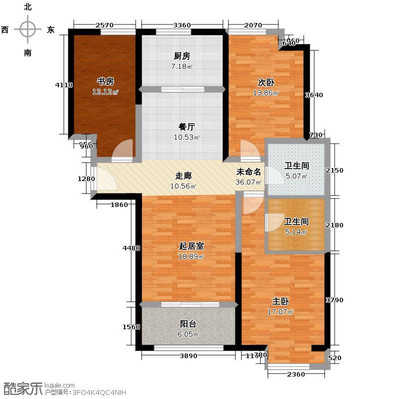 普天格兰绿都138.25㎡二期1#5#楼B4户型3室2卫1厨