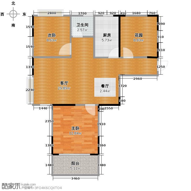 金宏豪庭88.22㎡户型2室2厅1卫