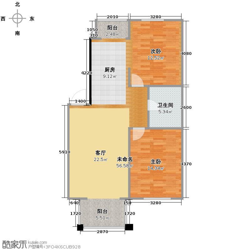 上院118.88㎡25C1户型2室1厅1卫