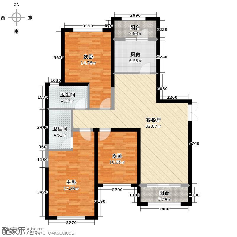 四季上东112.18㎡二期12号楼D4-1-a户型3室2厅1卫