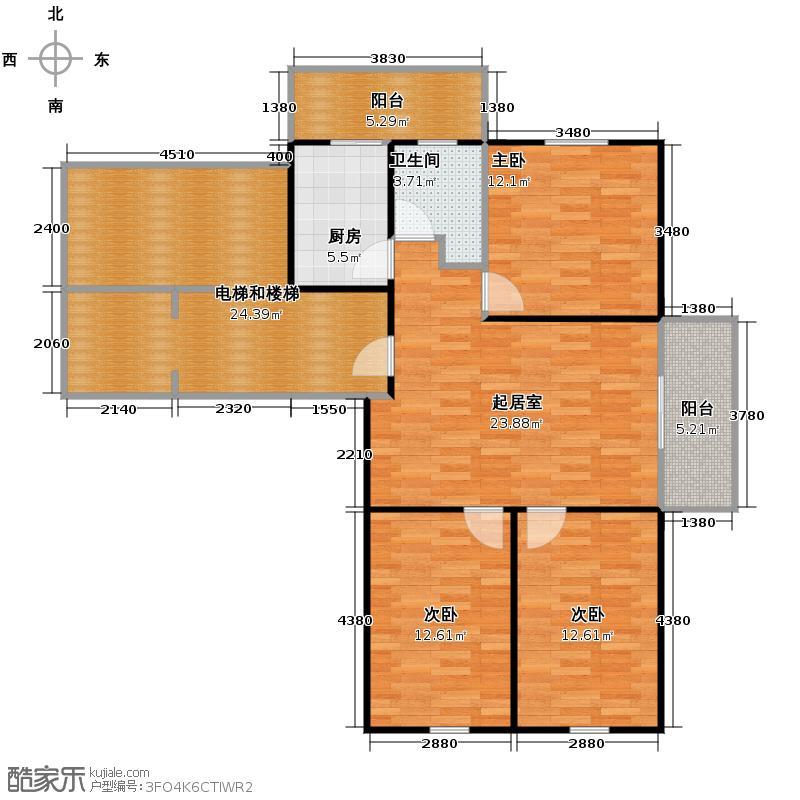 盛世香湾113.54㎡C1户型3室1厅1卫