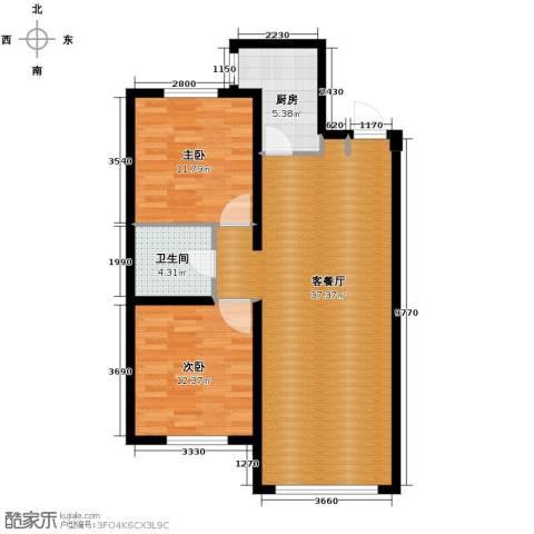 中海�庭2室2厅1卫0厨79.59㎡户型图