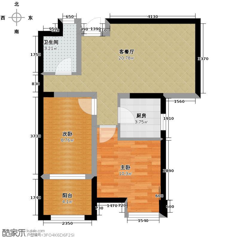 禹洲天境68.19㎡三期D3户型2室2厅1卫