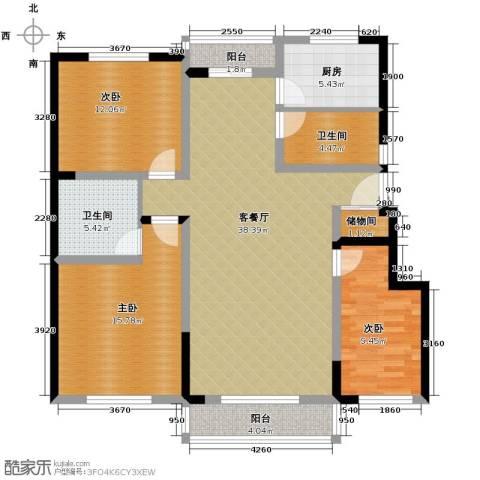 领秀世家3室2厅2卫0厨128.00㎡户型图