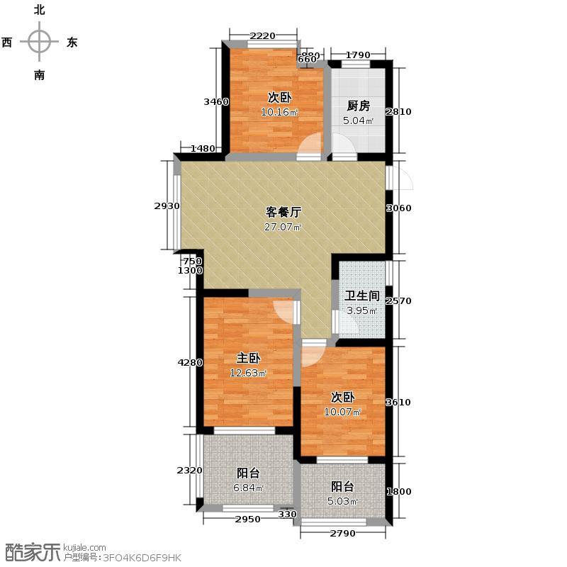 禹洲天境98.64㎡三期D5户型3室2厅1卫