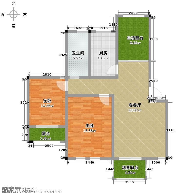 鹏基诺亚山林三期91.30㎡达利园11栋401户型2室1厅1卫1厨