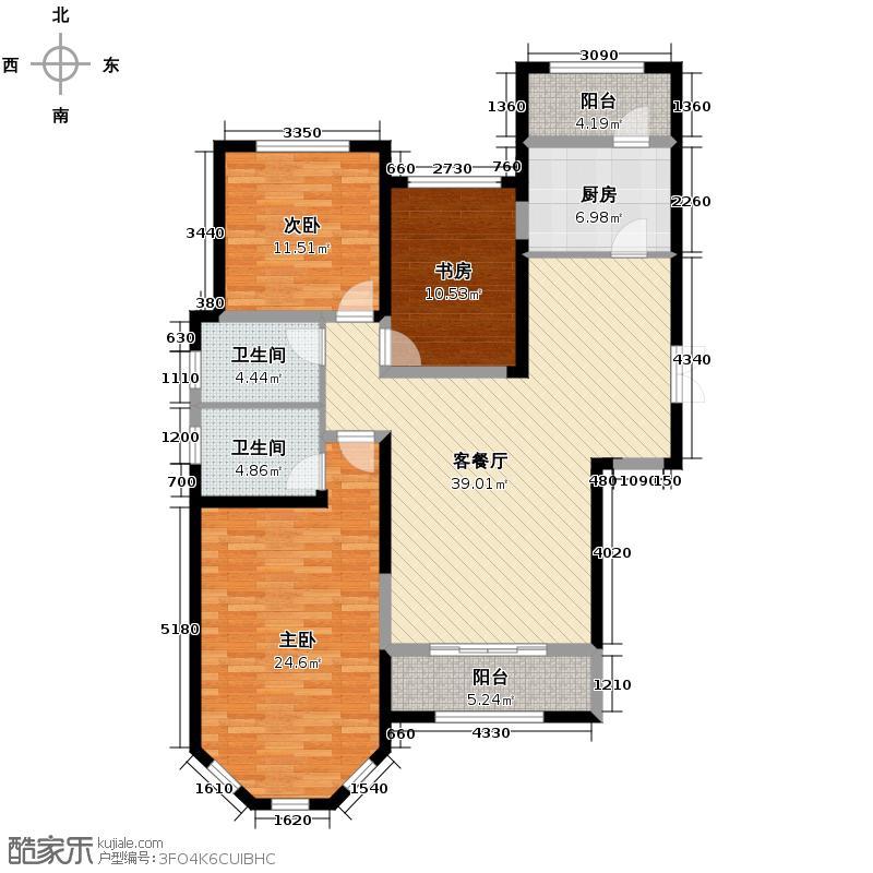 四季上东105.00㎡二期12号楼D2-a户型3室2厅2卫