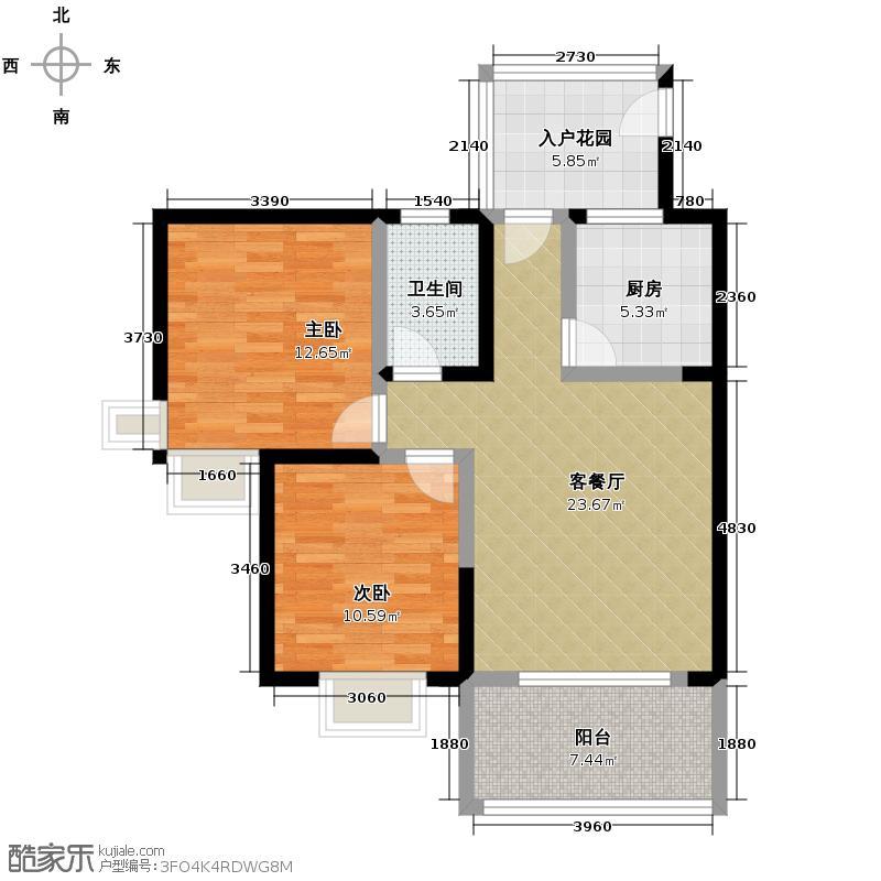 龙博御景80.55㎡3#-S2型户型2室1厅1卫1厨