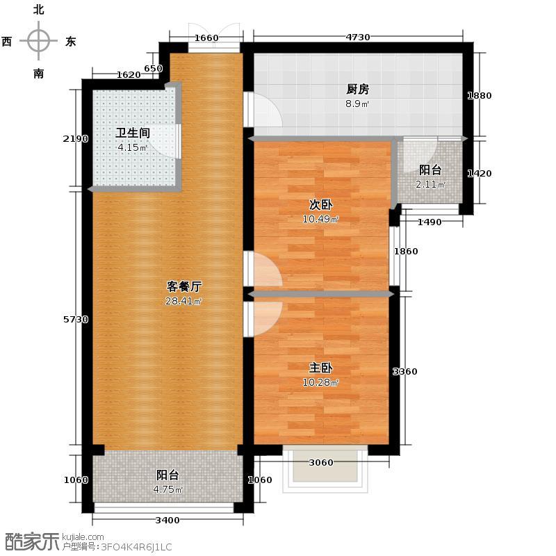 盛业·阳光雅筑98.88㎡2#C户型2室1厅1卫1厨