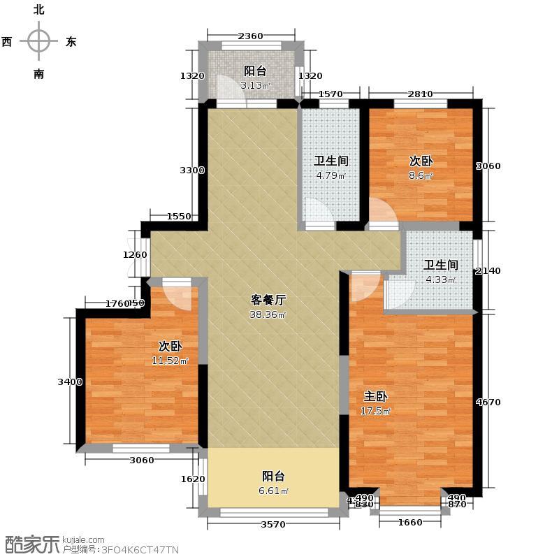 龙鸿怡家100.23㎡项目C2户型3室2厅2卫