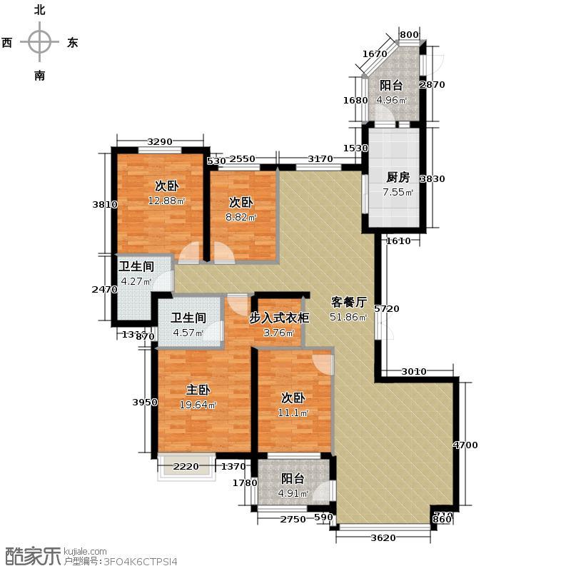 恒大名都185.63㎡10、11号楼1单元四室户型4室2厅2卫