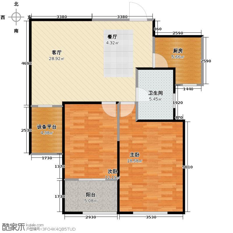 天居锦河丹堤89.05㎡B1户型2室1厅1卫1厨